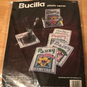 Bucilla Plastic Canvas 6127 Seed Packet Coasters